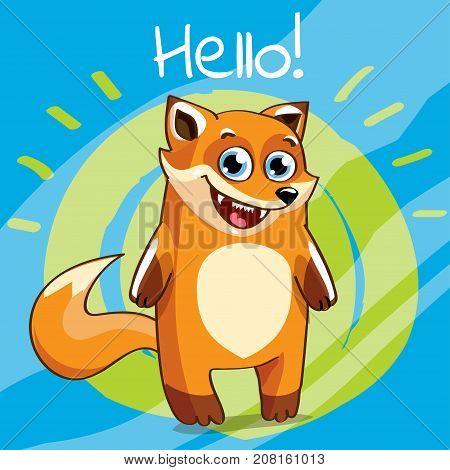 Vector illustration of cute cartoon hapy fun fox. Greeting card, postcard. Hello.