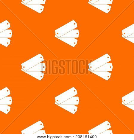 Three tags pattern repeat seamless in orange color for any design. Vector geometric illustration