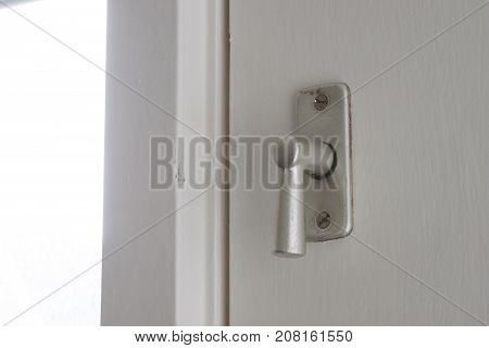 White Door With Security Lock Doorhandle