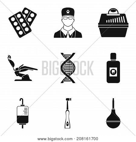 Research of disease icons set. Simple set of 9 research of disease vector icons for web isolated on white background