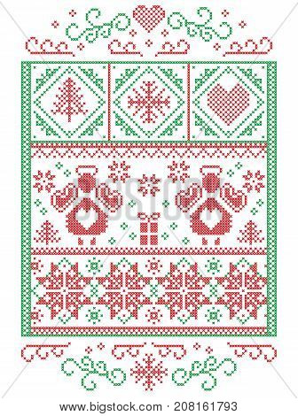 Elegant Christmas Scandinavian, Nordic style winter stitching, pattern including  Angel, snowflakes, heart, gift, star, Christmas tree, snow and decorative ornaments in green, red in rectangle frame