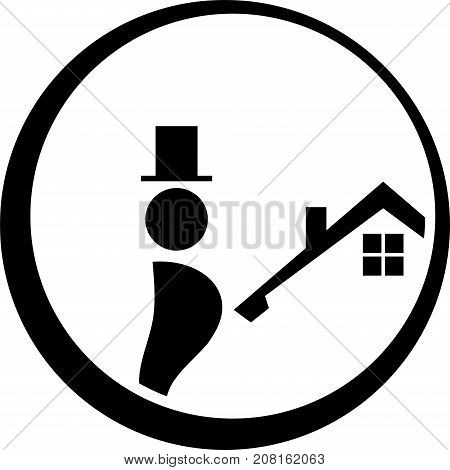 Chimney sweep and house, chimney sweep and professions label