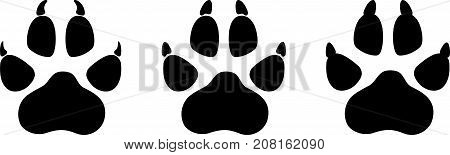 Dog or wolf paw collection, animals and paw label