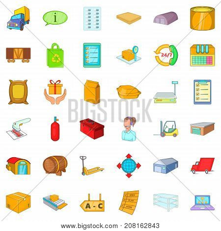 Store icons set. Cartoon style of 36 store vector icons for web isolated on white background