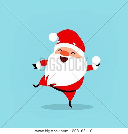 Santa Claus plays snowballs. Cute Christmas character. Element from set of funny cartoon characters with different emotions and New Year's objects Vector illustration isolated on light blue background