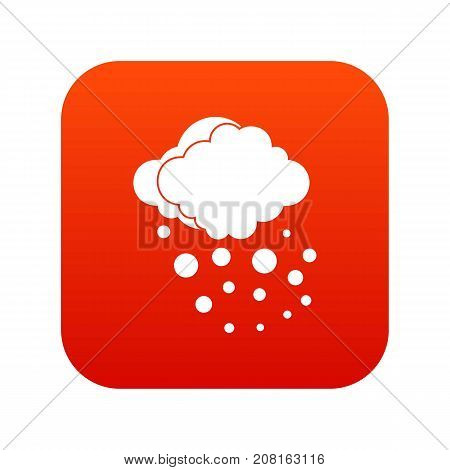Cloud with hail icon digital red for any design isolated on white vector illustration