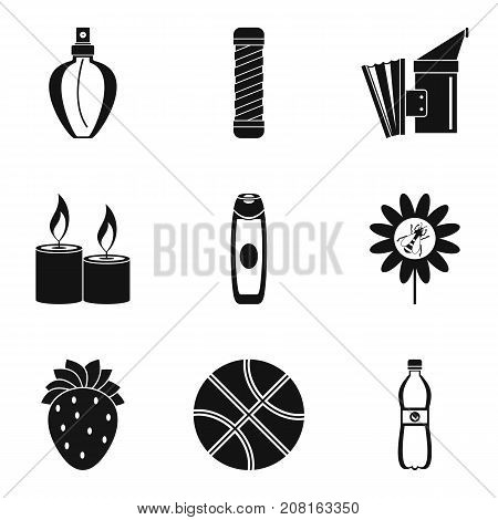 Pollination of flower icons set. Simple set of 9 pollination of flower vector icons for web isolated on white background