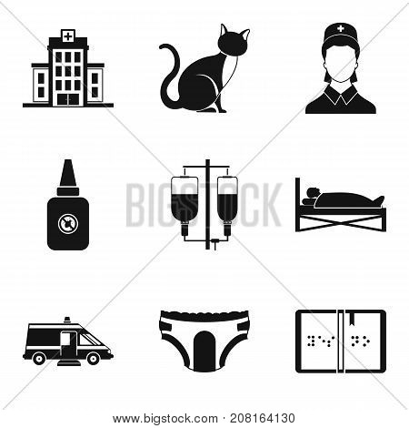 Hospital icons set. Simple set of 9 hospital vector icons for web isolated on white background