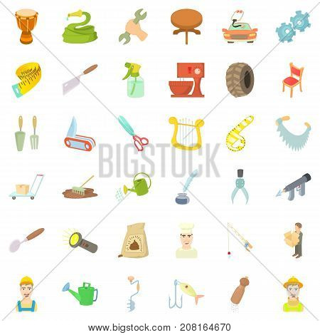 Work icons set. Cartoon style of 36 work vector icons for web isolated on white background