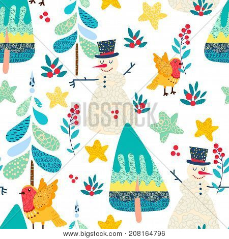 Winter seamless pattern with a Christmas decorative forest. Cute robin bird finch snowman cartoon character  Ornament for children clothing print poster bag textile gift wrapping paper surface design