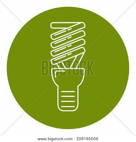 Energy saving light bulb icon in thin line style. Spiral lamp linear symbol in round frame.