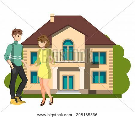 Young couple outside of their new home. Vector illustration