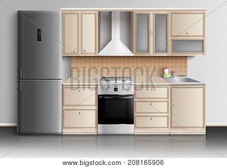 Kitchen furniture realistic interior composition with closed kitchen cabinets fridge sink and gas stove with reflexions vector illustration