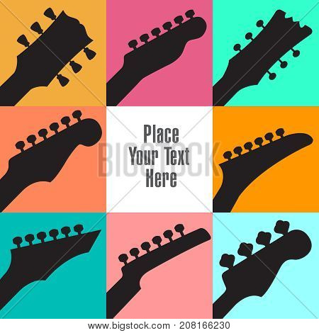 Eight guitar headstocks frame this white space for your text