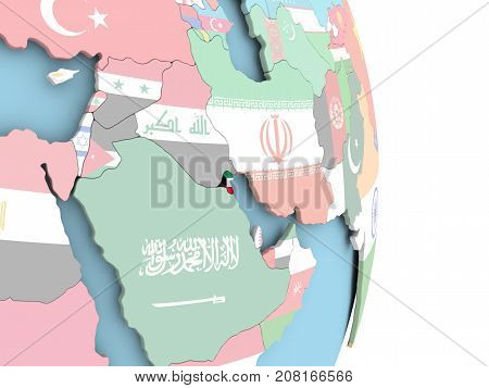 Kuwait With Flag On Globe