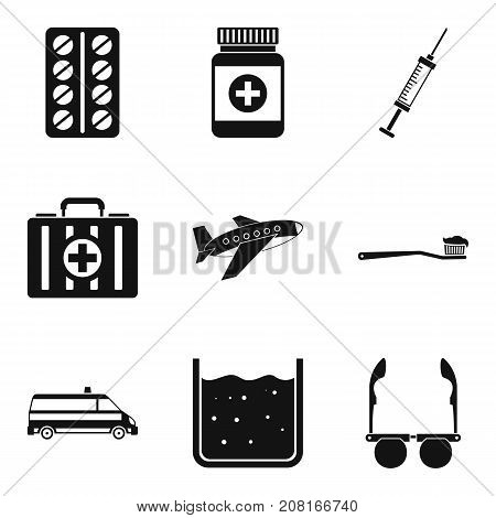 Ambulance icons set. Simple set of 9 ambulance vector icons for web isolated on white background