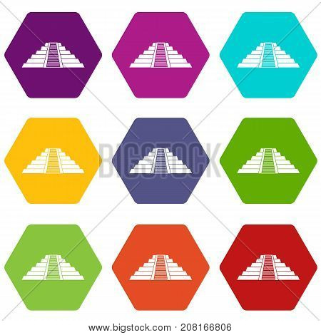 Ziggurat in Chichen Itza, Yucatan icon set many color hexahedron isolated on white vector illustration