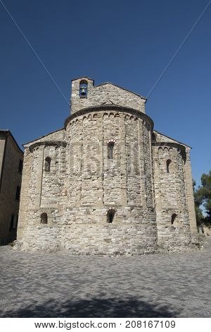 San Leo (Forli Cesena Emilia Romagna Italy): the historic town at morning church