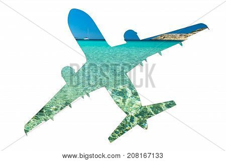 Escape to tropics. Pictures of a turquoise Caribbean sea on a silhouette of plane, isolated on white background with copy space. Side view. Tourism, travel and holidays concept.