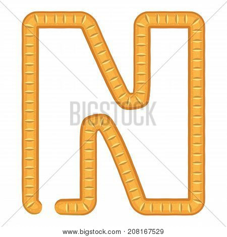 Letter n bread icon. Cartoon illustration of letter n bread vector icon for web