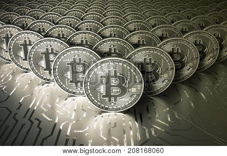 Platinum Virtual Silver Coins Bitcoins On Printed Circuit Board. 3D Illustration.