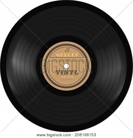 gramophone vinyl LP record with label. Old technology, realistic retro design, vector art image illustration, isolated on white background eps10