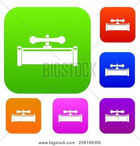 Plumbing valve set icon color in flat style isolated on white. Collection sings vector illustration