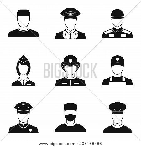 Officer icons set. Simple set of 9 officer vector icons for web isolated on white background