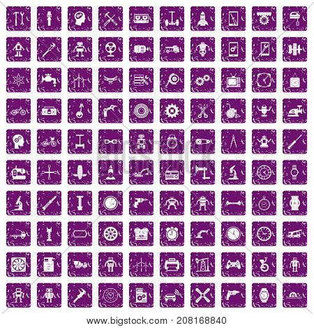 100 gear icons set in grunge style purple color isolated on white background vector illustration