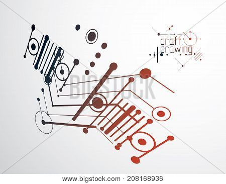 Technical plan abstract engineering draft for use in graphic and web design. Vector drawing of industrial system created with lines and circles. Artistic graphic illustration.