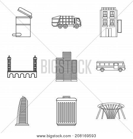 Morning shift icons set. Outline set of 9 morning shift vector icons for web isolated on white background