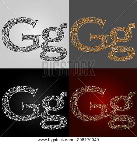 Set of alphabet visual styles. The letter G. Lettering. Handmade