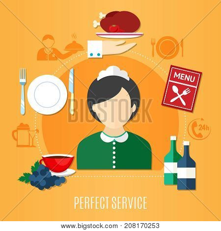 Restaurant service concept with female waiter silhouette and served dishes on orange background flat vector illustration