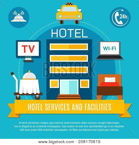 Hotel services and facilities vector illustration with abstract modern hotel building and amenities icons