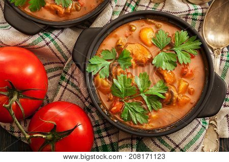 Stew Soup With Meat, Potatoes, Mushrooms And Red Pepper