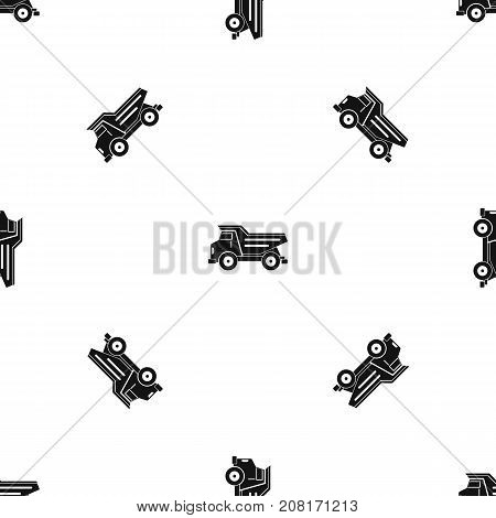 Dump truck pattern repeat seamless in black color for any design. Vector geometric illustration