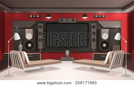 Modern home cinema interior with red walls, light floor, lamps, couches, tv and acoustic equipment vector illustration