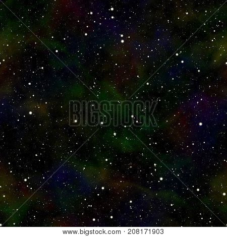 Abstract dark universe, Quiet night starry sky, Shiny outer space, Glittering galactic texture background, Cosmic seamless illustration