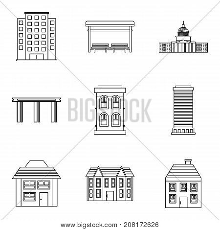 Private hotel icons set. Outline set of 9 private hotel vector icons for web isolated on white background
