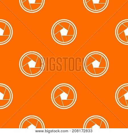 Photo objective pattern repeat seamless in orange color for any design. Vector geometric illustration