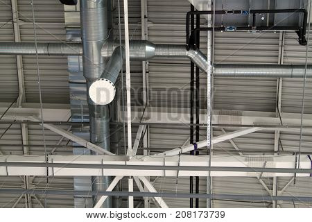 Ventilation system with lights of modern building