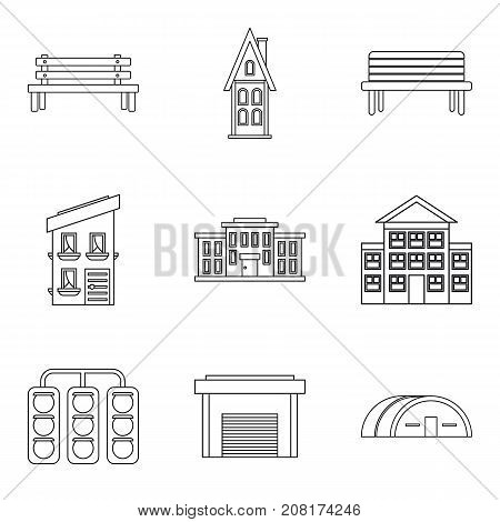 Expansion of the city icons set. Outline set of 9 expansion of the city vector icons for web isolated on white background