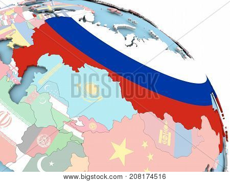 Flag Of Russia On Globe