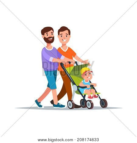 Vector illustration gay couple with baby in a stroller walk cartoon style. Concept gay family and relationship