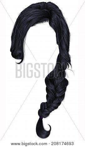 trendy women hairs brunette black colour . plait .  fashion beauty style .