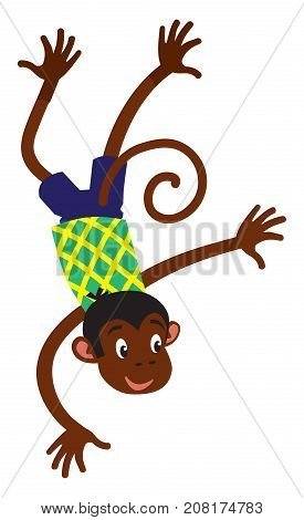 Vector cartoon character of jumping little funny monkey. Children illustration