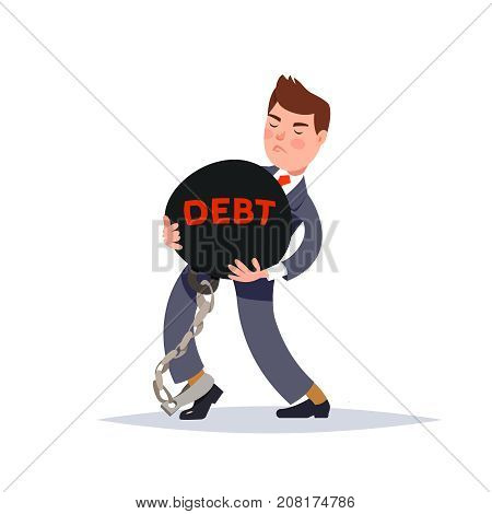 Vector illustration of a businessman carrying a heavy burden of debt. Concept financial slavery cartoon style