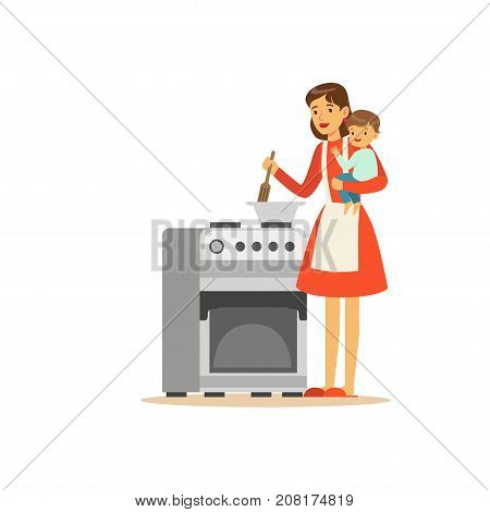 Flat super mom character. Happy mother with her baby in her arms cooking dinner. Parenthood and motherhood. Caring woman with child. In an attempt to manage everything. Vector illustration isolated.