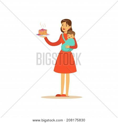Flat super mom character, holding sweet cake. Happy mother in red dress with her baby in her arms. Parenthood and motherhood. Caring woman with child. Vector illustration isolated on white background.