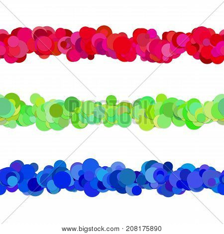 Chaotic dot pattern line separator design set from colored circles - vector graphic design elements to divide web page parts
